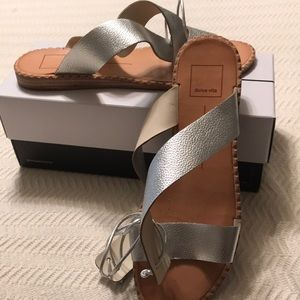 Like New Dolce Vita silver leather sandals size 9